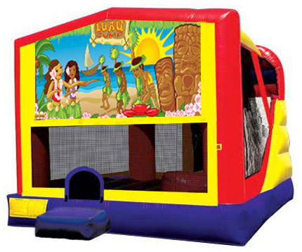 Extra Large Module 4 in 1 combo Wet/Dry Slide With Luau Banner