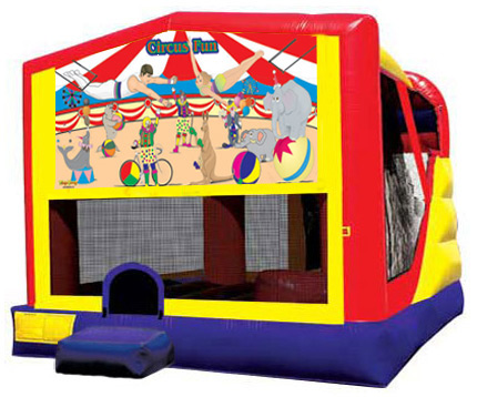 Extra Large Module 4 in 1 combo Wet/Dry Slide With Circus Fun Banner