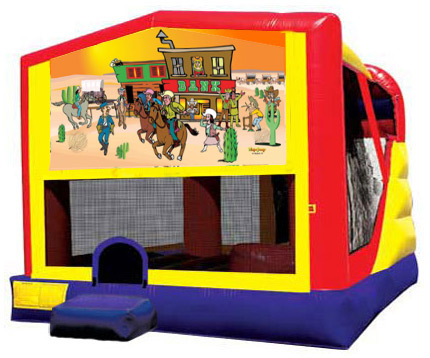 Extra Large Module 4 in 1 combo Wet/Dry Slide With Western Cowboys Banner