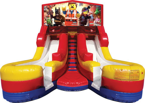 Module Junior Double Lane Water Slide Wet/Dry - w/Lego Banner